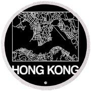 Black Map Of Hong Kong Round Beach Towel