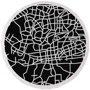 Black Map Of Johannesburg Round Beach Towel