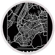 Black Map Of New York Round Beach Towel