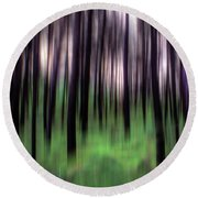 Black Pines In A Green Wood Round Beach Towel
