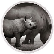 Black Rhinoceros Baby And Cow Round Beach Towel