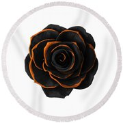 Black Rose- Black And Gold Rose - Death - Minimal Black And Gold Decor - Dark 2 Round Beach Towel