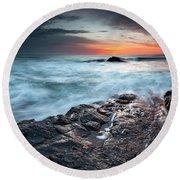 Black Sea Rocks Round Beach Towel