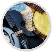 Black Violin And Banjo Round Beach Towel