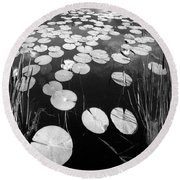 Black Water Round Beach Towel