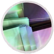 Blank Reflective Aluminum Plates. Blue, Pink And Purple. Fashion Abstract Background. Round Beach Towel