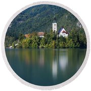Round Beach Towel featuring the photograph Bled Island by Davor Zerjav