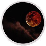 Blood Moon Rising Round Beach Towel