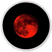 Blood Red Wolf Supermoon Eclipse 873a Round Beach Towel
