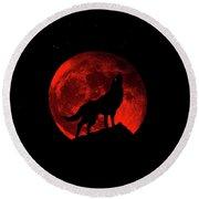Blood Red Wolf Supermoon Eclipse 873l Round Beach Towel