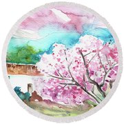 Blossoming Almond Tree On The Costa Blanca Round Beach Towel