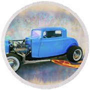 Blue 32 Ford Coupe Round Beach Towel