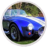 Blue 427 Shelby Cobra In The Garden Round Beach Towel