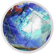 Blue Abstract Art - Storm Chaser - Sharon Cummings Round Beach Towel