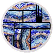 Blue Agate Mosaic Watercolor Collage Round Beach Towel