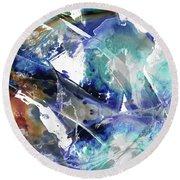 Blue And Brown Abstract Art - Rush - Sharon Cummings Round Beach Towel