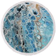 Blue And Gold Patterns Round Beach Towel