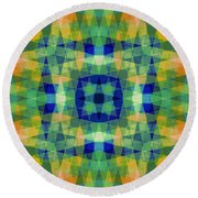 Blue And Orange With Wood Patterns Round Beach Towel