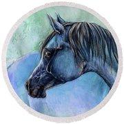 Blue Arabian Horse Round Beach Towel