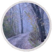 Blue Autumn Round Beach Towel