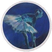 Blue Ballerina Round Beach Towel