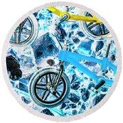 Blue Bike Background Round Beach Towel
