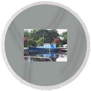 Round Beach Towel featuring the painting Blue Boat At Cloondara Harbour. by Val Byrne