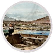Round Beach Towel featuring the painting Blue Boat At Greystones Harbour by Val Byrne