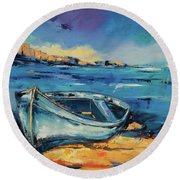 Blue Boat On The Mediterranean Beach Round Beach Towel