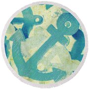 Blue Boating Button Round Beach Towel
