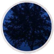Blue Cherry Tree Round Beach Towel