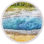 Round Beach Towel featuring the photograph Blue Crested Pool At Yellowstone National Park by Tatiana Travelways