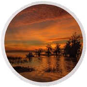 Blue Cypress Sunrise With Boat Round Beach Towel
