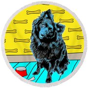 Round Beach Towel featuring the photograph Blue Dog by Lou Novick