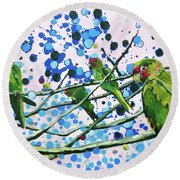 Round Beach Towel featuring the painting Blue Dot Parakeets by Tilly Strauss