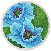 Round Beach Towel featuring the painting Blue Duo by Amy E Fraser