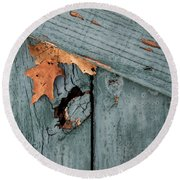Blue Fence Round Beach Towel