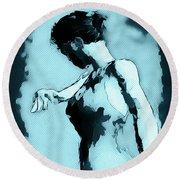 Blue Flamenco Round Beach Towel