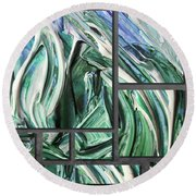 Blue Green Gray Abstract Collage Round Beach Towel