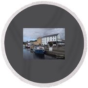 Round Beach Towel featuring the painting Richmond Harbour  In Cloondara, Co Longford by Val Byrne
