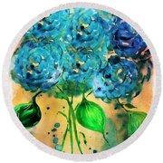 Blue Heaven Hydrangea Round Beach Towel