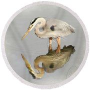 Blue Heron 1 Round Beach Towel