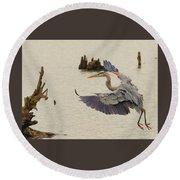 Blue Heron 2 Round Beach Towel