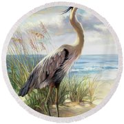 Blue Heron Right Round Beach Towel