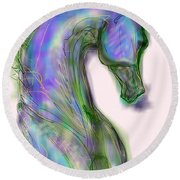 Blue Horse Painting Round Beach Towel