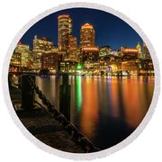 Blue Hour At Boston's Fan Pier Round Beach Towel