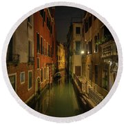 Round Beach Towel featuring the photograph Blue Hour In Venice by Tim Bryan