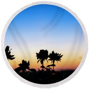 Blue Hour Sunset With Flowers Round Beach Towel