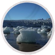 Blue Icebergs Floating Along Storm Arctic Coast Panorama Round Beach Towel