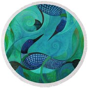 Blue Loons Round Beach Towel